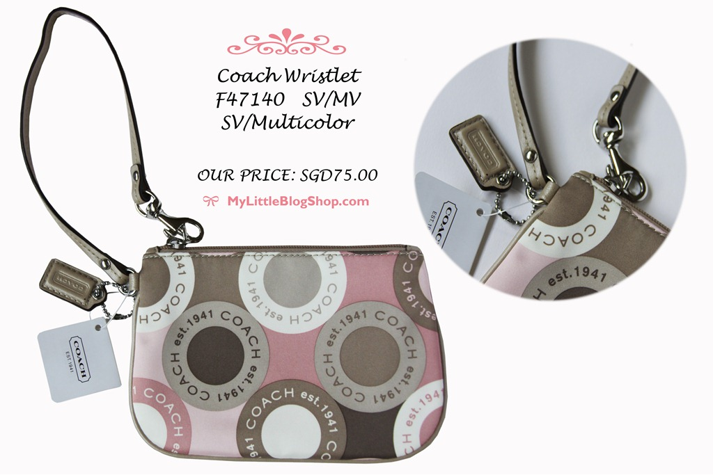 coach pink and gray purse fyuo  coach wristlets singapore